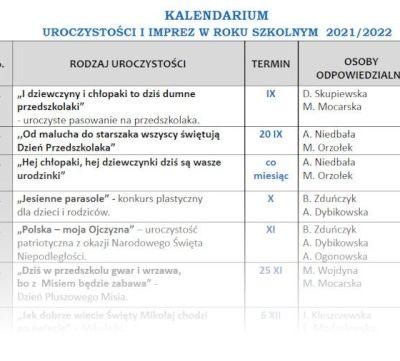 KALENDARIUM UROCZYSTOŚCI I IMPREZ W ROKU SZKOLNYM  2021/2022